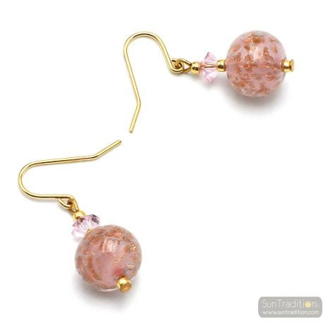 PINK EARRINGS IN GENUINE MURANO GLASS FROM VENICE