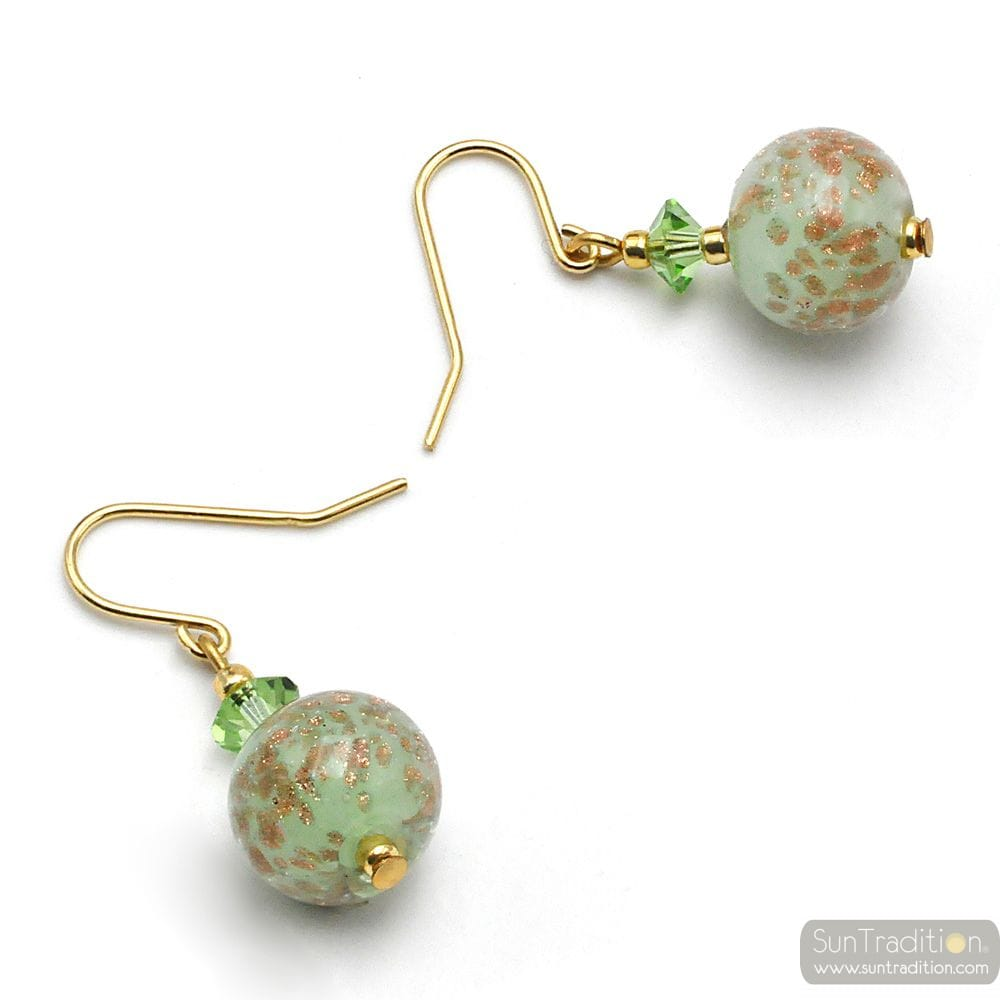 GREEN OPALINE - GREEN EARRINGS IN REAL MURANO GLASS FROM VENICE