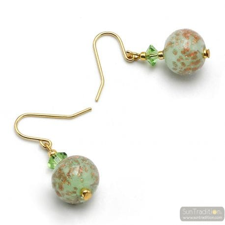 GREEN EARRINGS IN REAL MURANO GLASS FROM VENICE