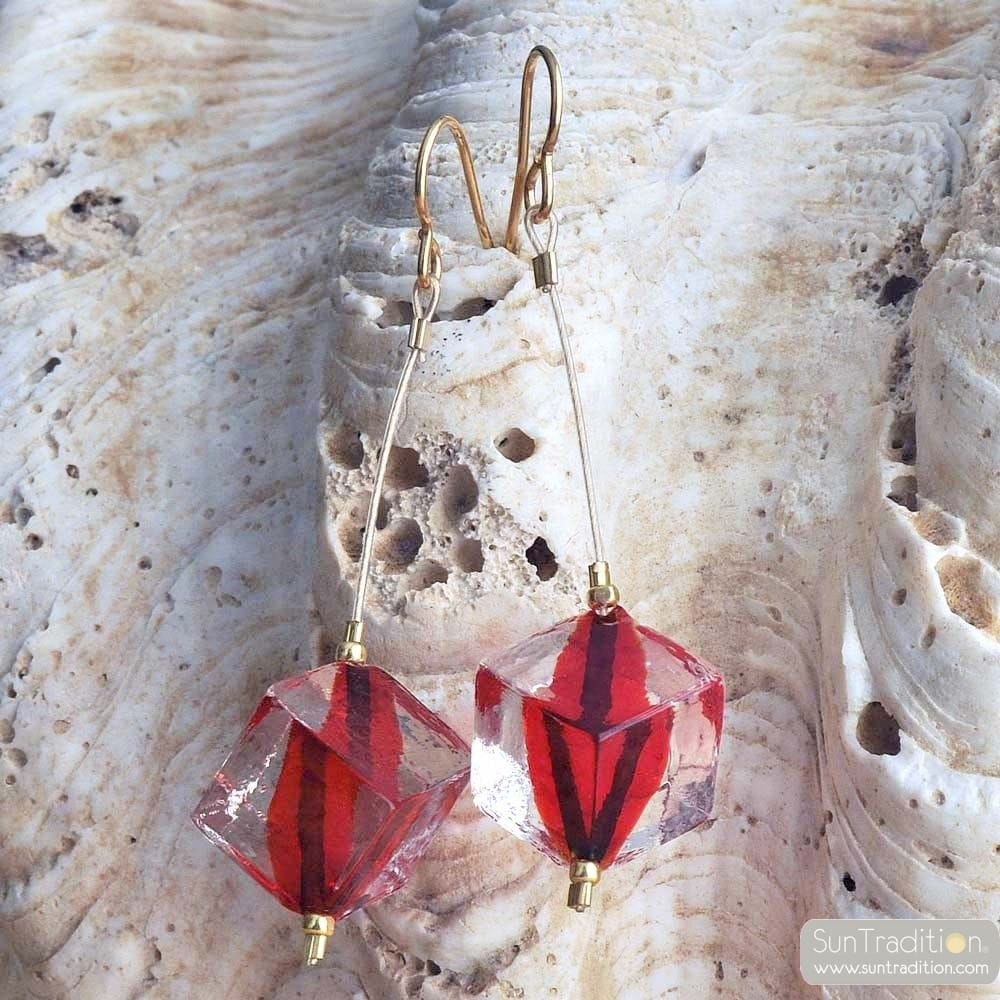 RUMBA PENDANT EARRINGS CUBIC PEARLS RED GLASS MURANO VENICE