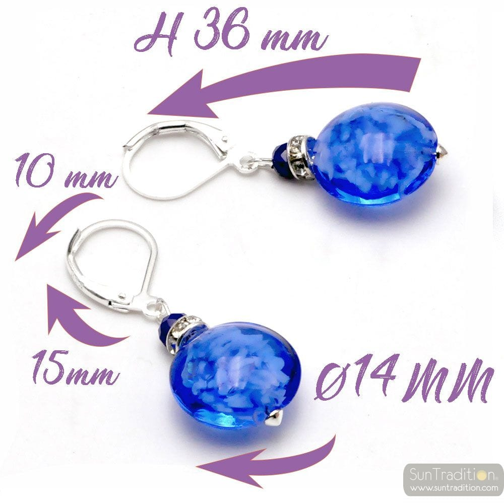 LEVERBACK BLUE NAVY EARRINGS JEWELRY REAL GLASS MURANO FROM VENICE