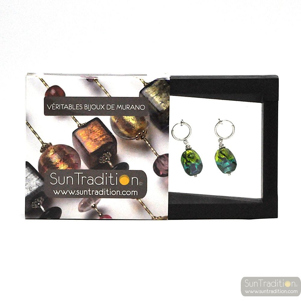 SASSO BICOLOR GREEN AND BLUE - GREEN AND BLUE MURANO GLASS EARRINGS UNDRILLED