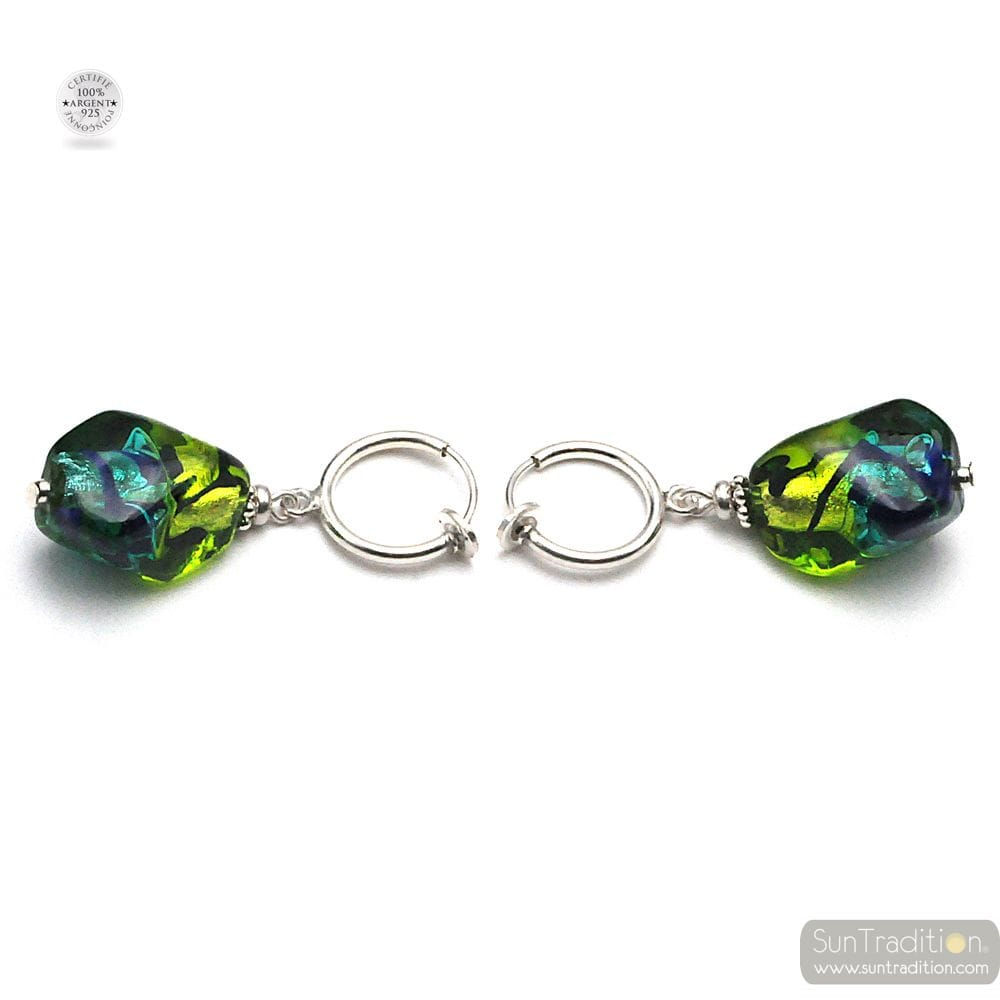 GREEN AND BLUE MURANO GLASS EARRINGS UNDRILLED