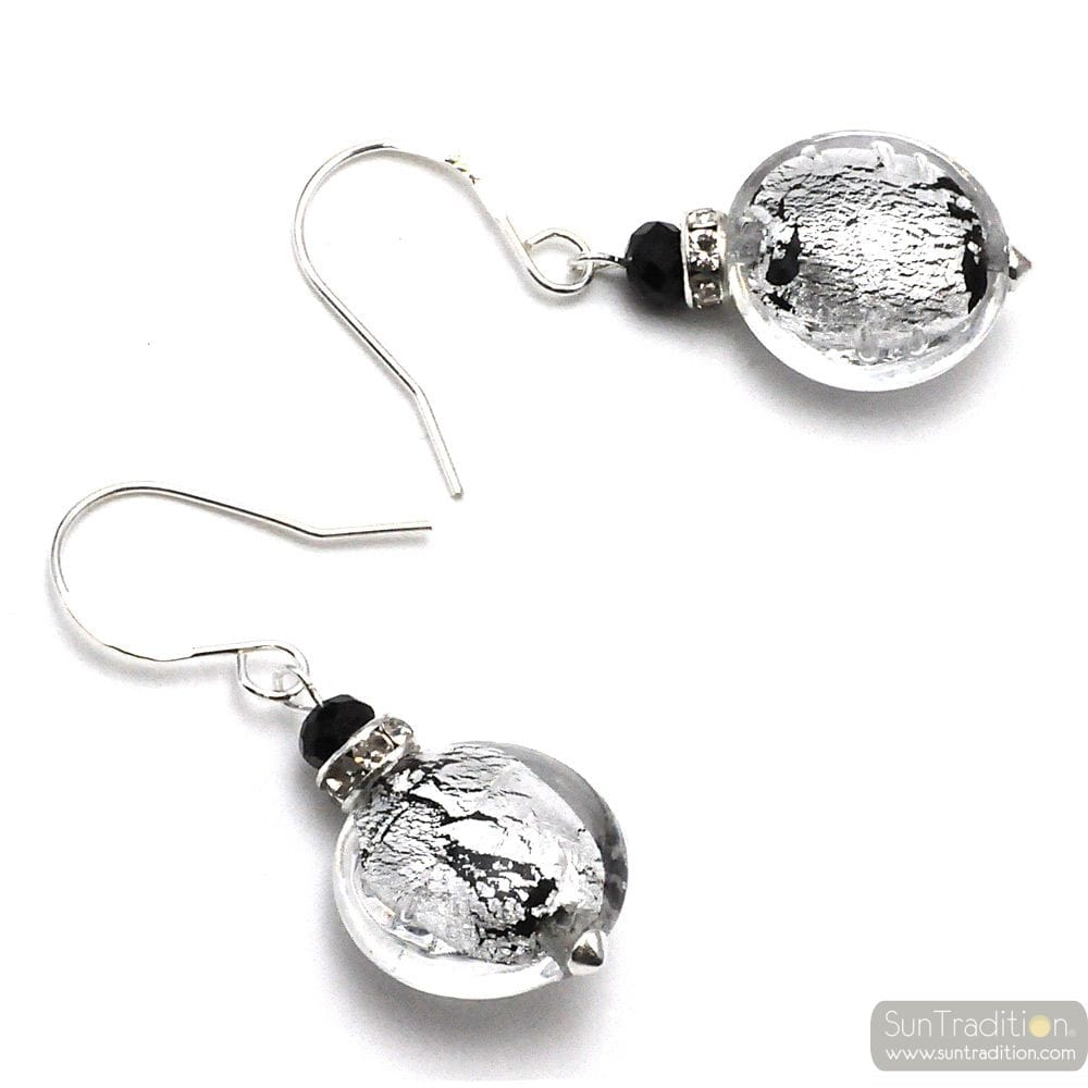 LEVERBACK SILVER EARRINGS JEWELRY REAL GLASS MURANO FROM VENICE
