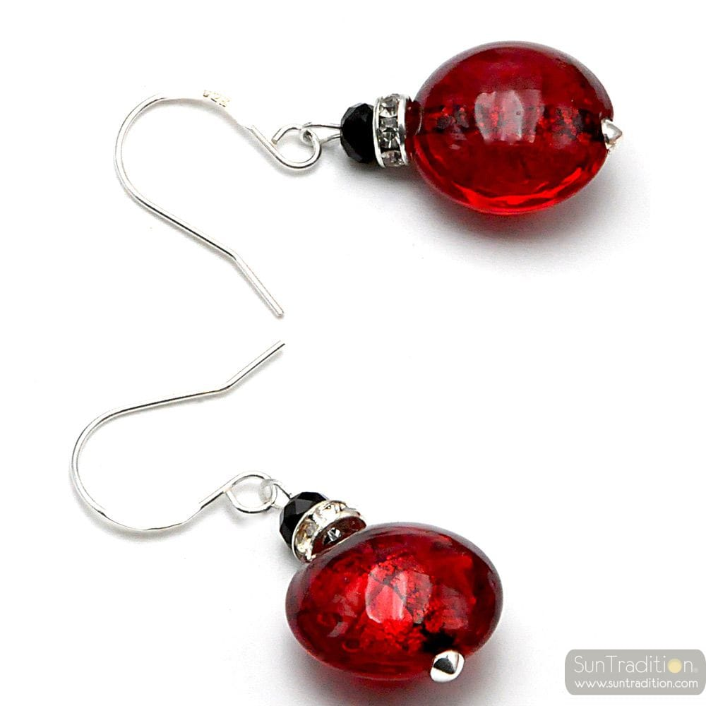 LEVERBACK RED EARRINGS JEWELRY REAL GLASS MURANO FROM VENICE