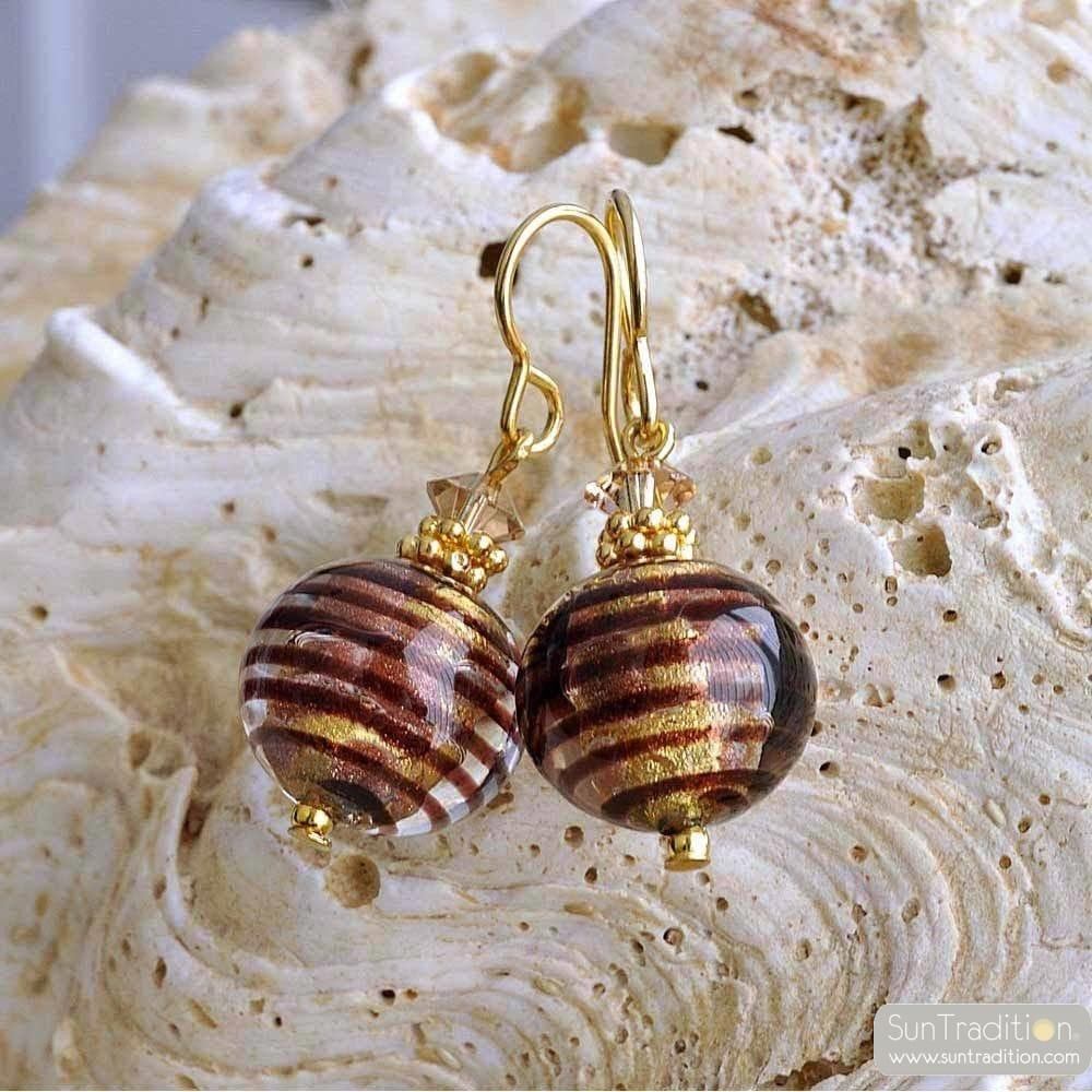 boucles d 39 oreilles verre murano chocolat bijoux en verre de murano. Black Bedroom Furniture Sets. Home Design Ideas