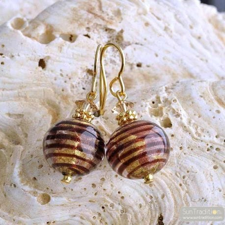 BOUCLES D'OREILLES MURANO OR MARRON
