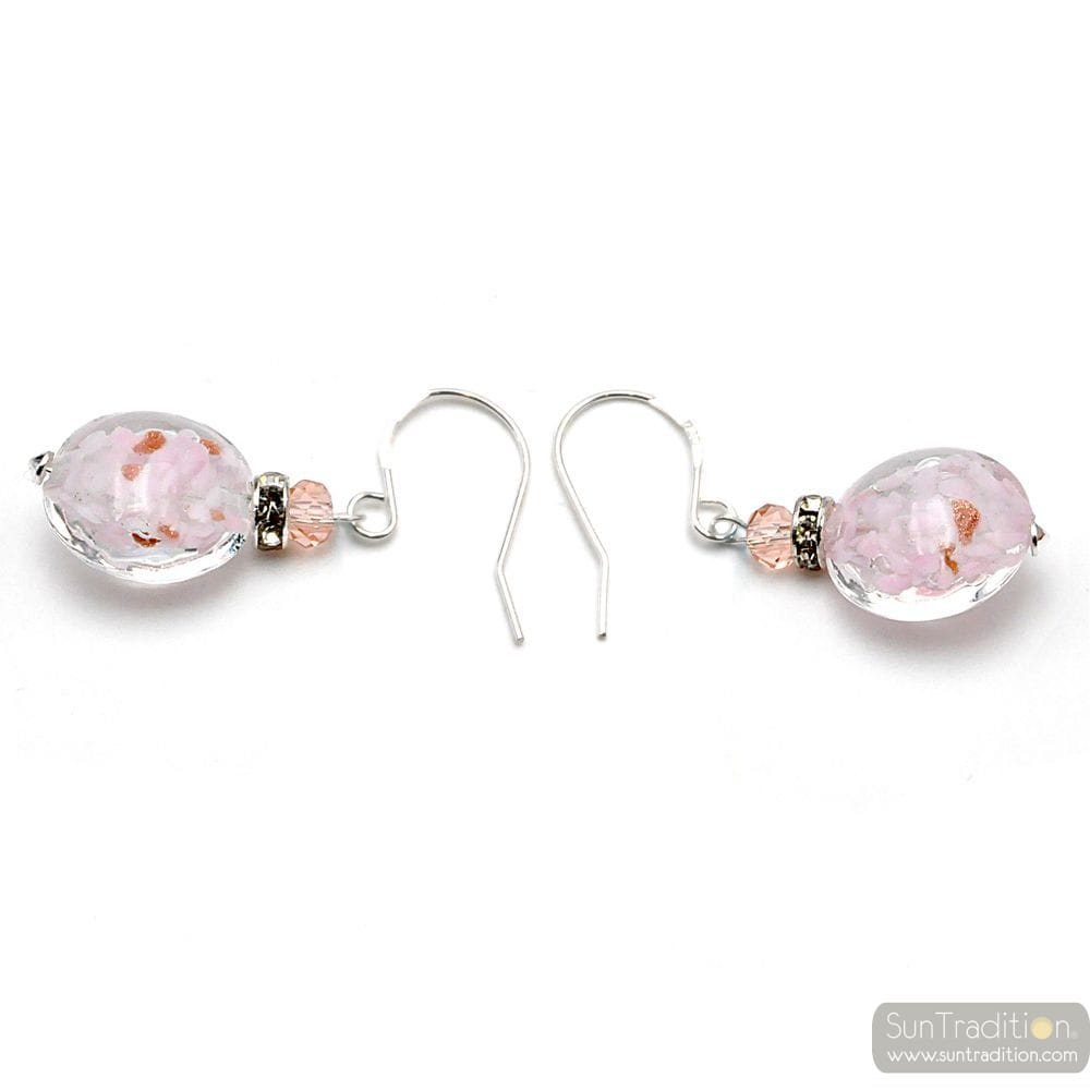 LEVERBACK AVENTURINE PINK EARRINGS JEWELRY REAL GLASS MURANO FROM VENICE