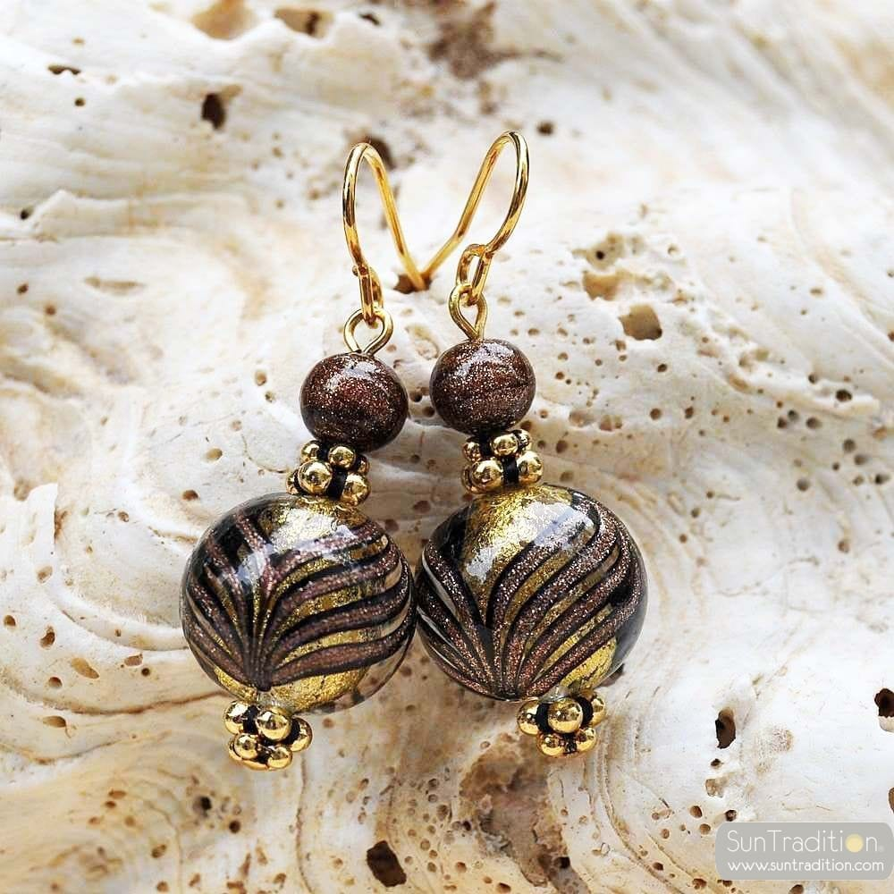 GOLD MURANO GLASS EARRINGS GENUINE VENICE MURANO GLASS