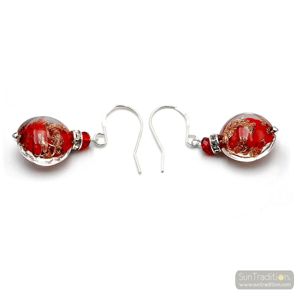 LEVERBACK AVENTURINE RED EARRINGS JEWELRY REAL GLASS MURANO FROM VENICE