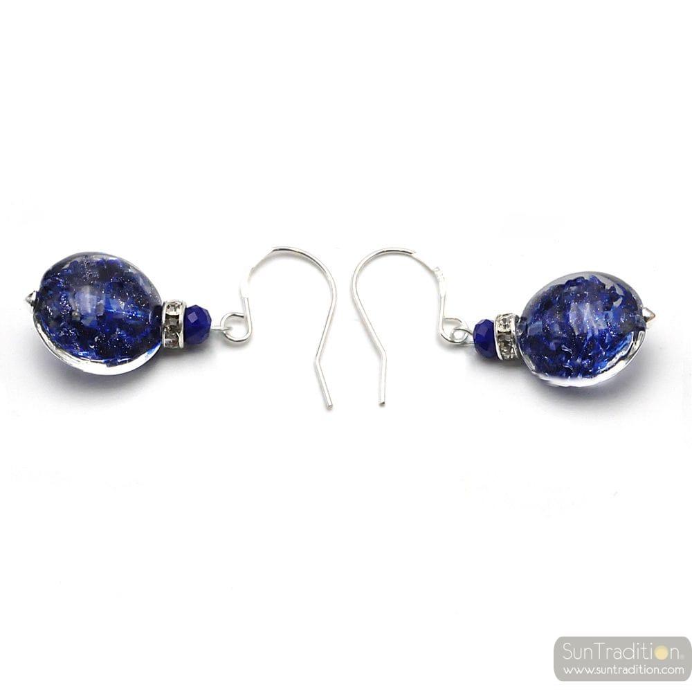 LEVERBACK AVENTURINE NAVY BLUE EARRINGS JEWELRY REAL GLASS MURANO