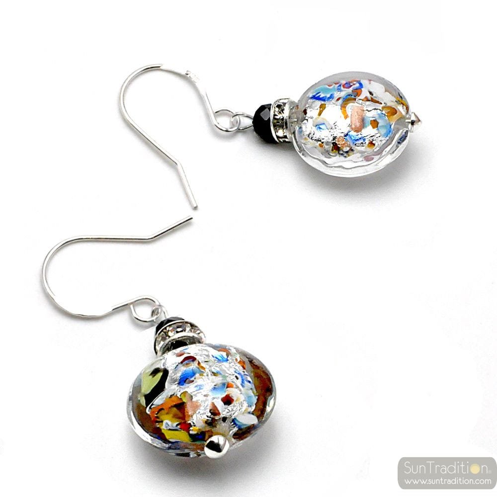 LEVERBACK MULTICOLOURED SILVER EARRINGS MURANO GLASS