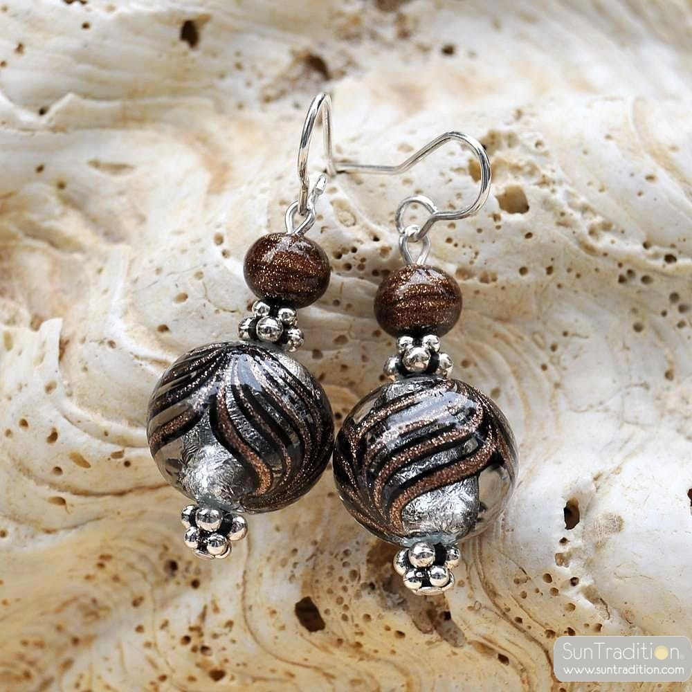 SILVER MURANO GLASS EARRINGS GENUINE VENICE MURANO GLASS