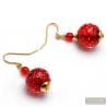 RED FIZZY - RED MURANO GLASS EARRINGS IN GENUINE GLASS FROM VENICE