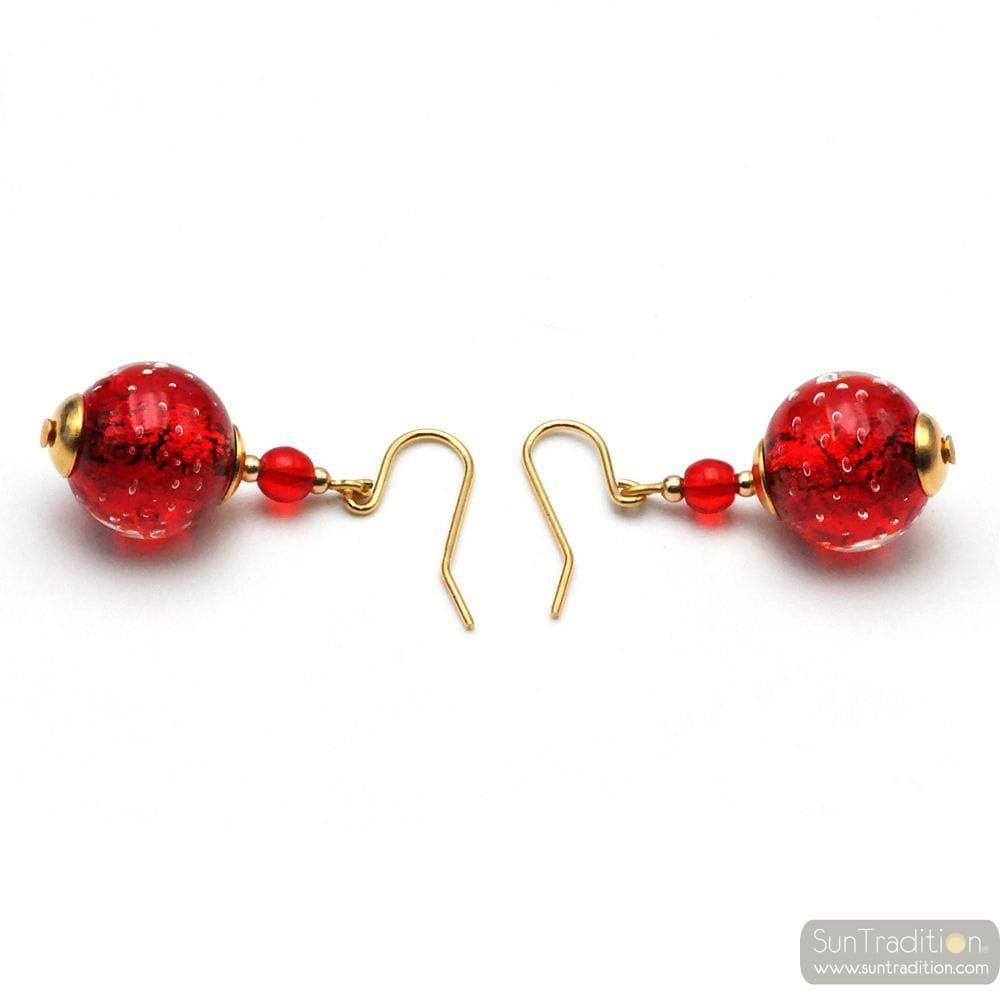 RED MURANO GLASS EARRINGS IN GENUINE GLASS FROM VENICE