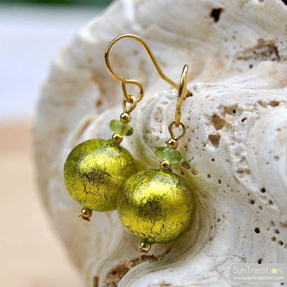 BALL LIME EARRINGS GENUINE VENICE MURANO GLASS