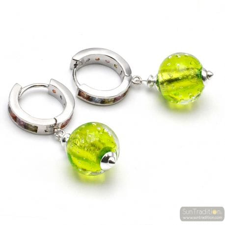 FIZZY ARCOBALENO ANIS GREEN - ANISE GREEN LEVERBACK EARRINGS IN REAL VENICE MURANO GLASS