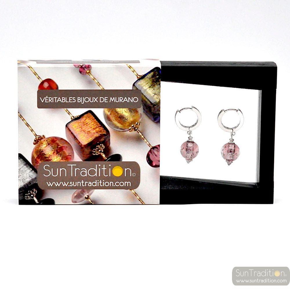 FIZZY ARCOBALENO PARMA - ROUND LEVERBACK PARMA MURANO GLASS EARRINGS FROM VENICE