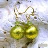GREEN ANISE MURANO GLASS EARRINGS GENUINE VENICE MURANO GLASS