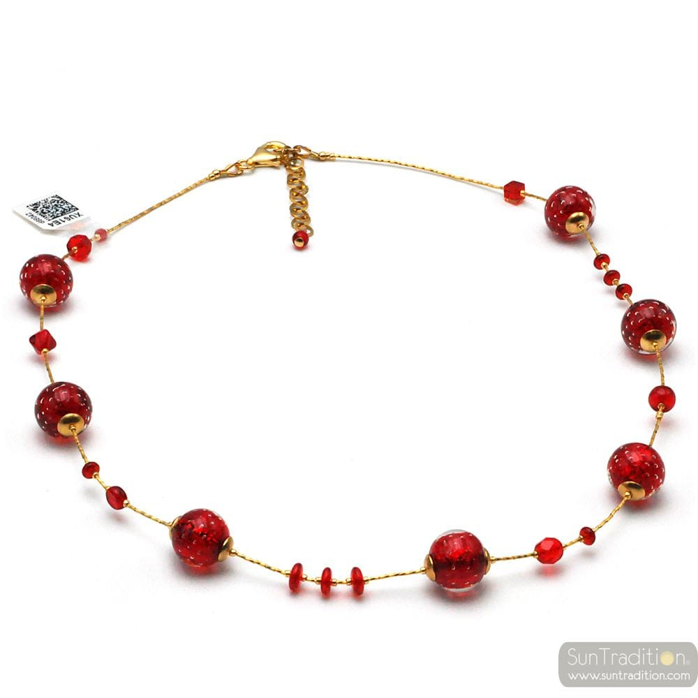 RED MURANO GLASS NECKLACE IN REAL VENICE GLASS