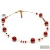 RED FIZZY- RED MURANO GLASS NECKLACE IN REAL VENICE GLASS