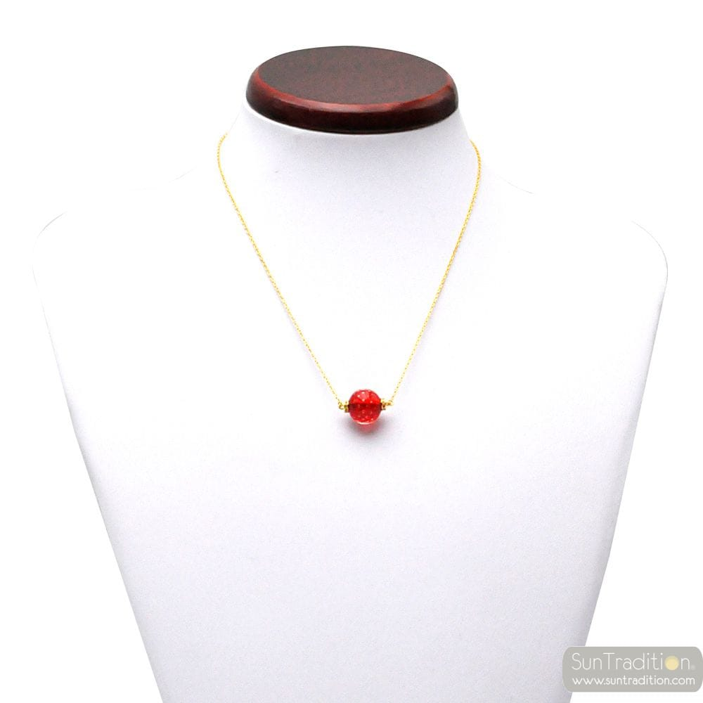 RED MURANO GLASS FIZZY BEADS PENDANT