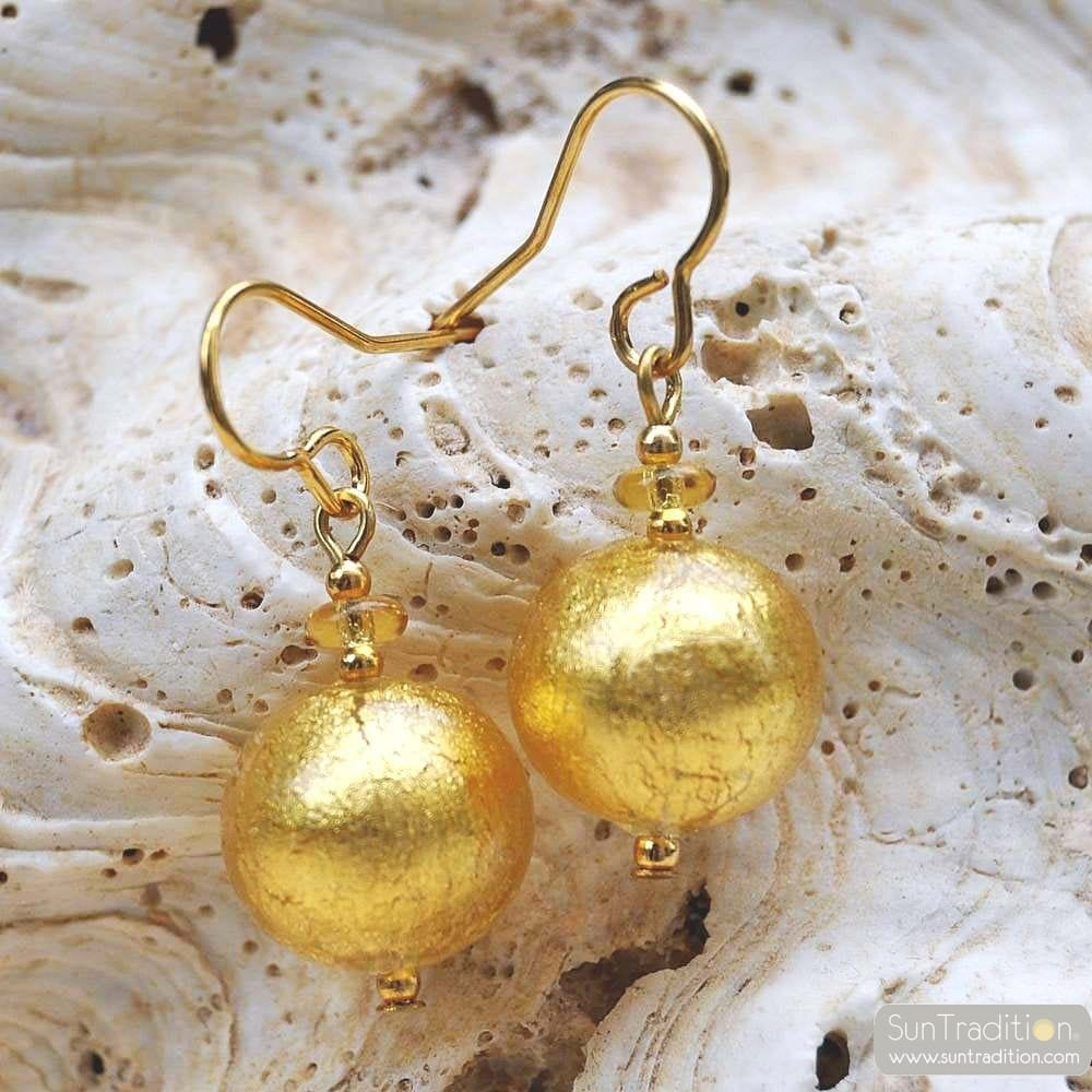 BALL - GOLD EARRINGS GENUINE VENICE MURANO GLASS