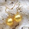 GOLD MURANO GLASS EARRINGS GENUINE VENITIAN JEWELRY