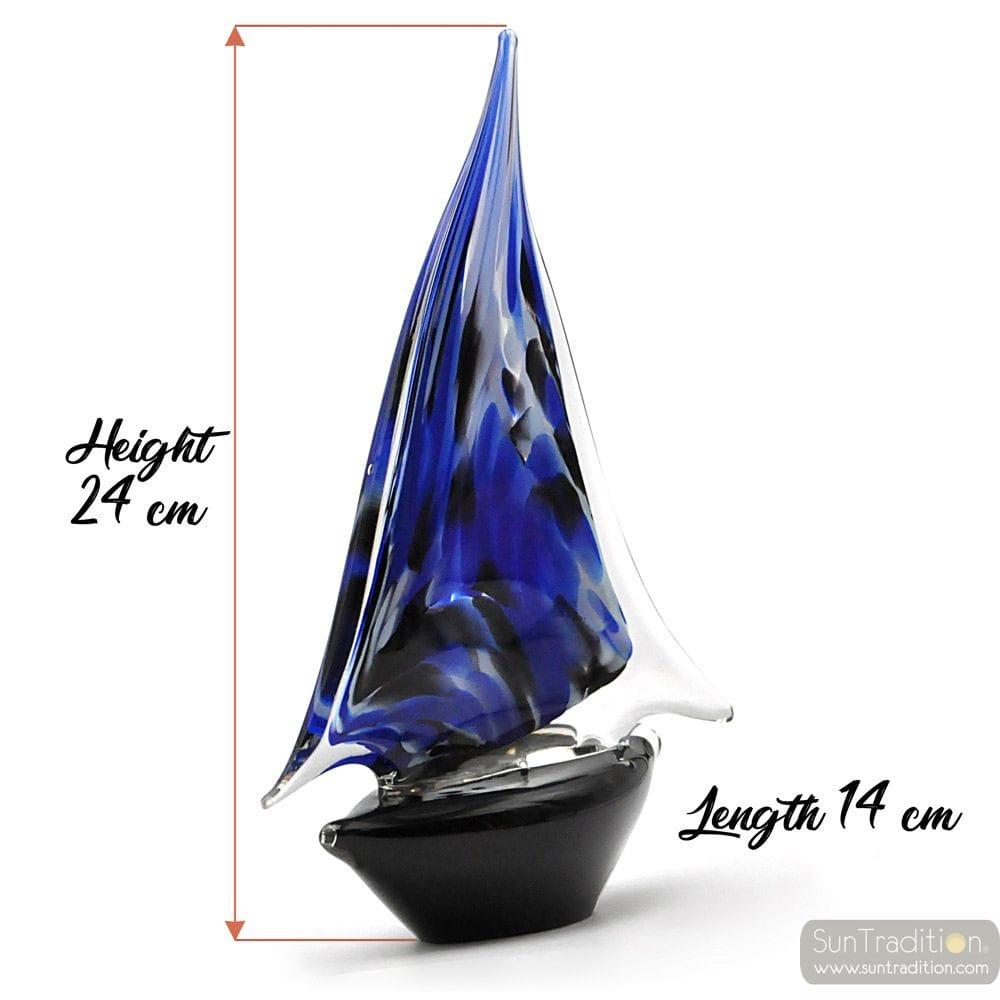 BLAUES UND SCHWARZES MURANO GLASS SEGELBOOT
