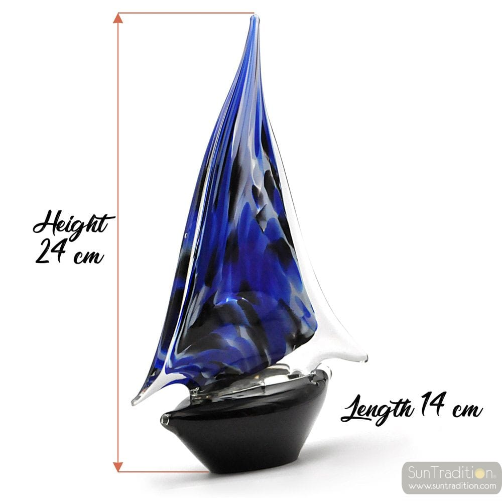 BLUE AND BLACK MURANO GLASS SAILBOAT
