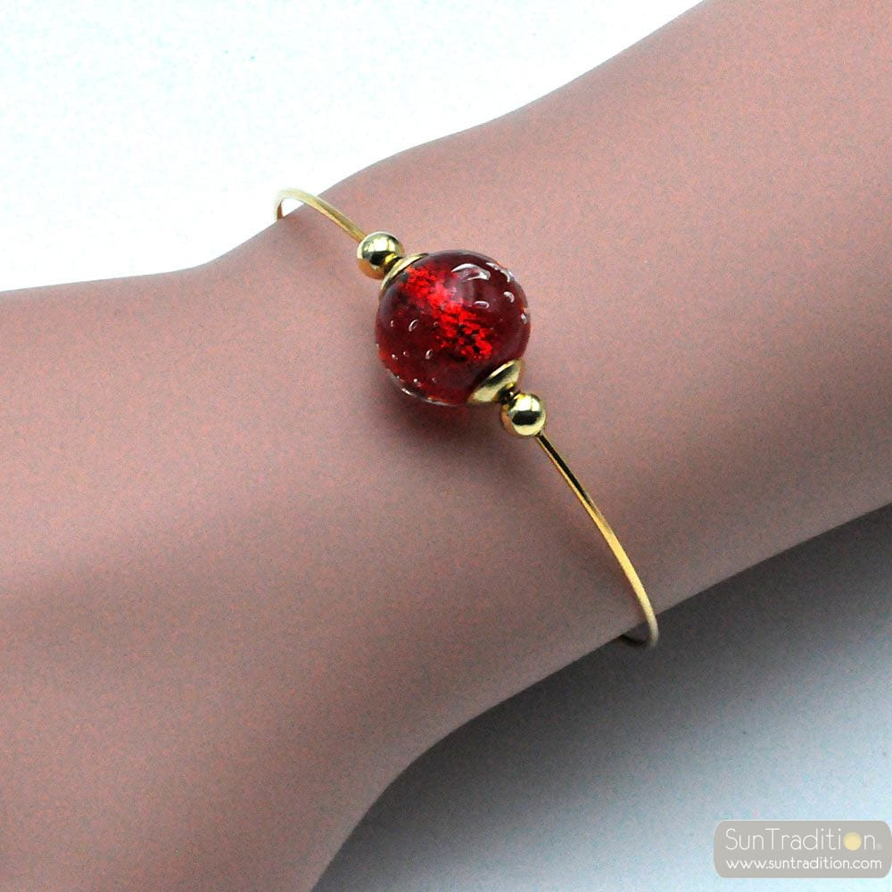 FIZZY FILI RED - THIN RED MURANO GLASS BRACELET IN REAL VENICE GLASS