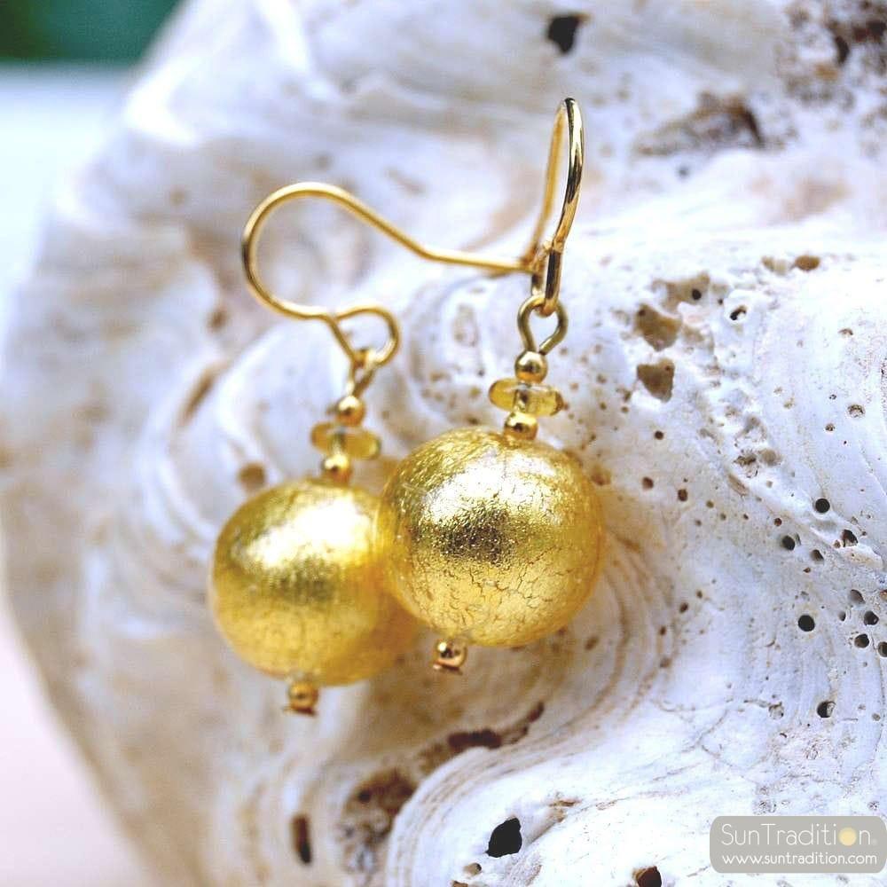 GOLD MURANO GLASS EARRINGS GENUINE VENICE MURANO GLASS