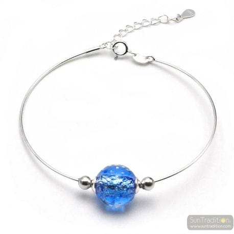 BLUE SILVER BRACELET IN GENUINE MURANO GLASS FROM VENICE