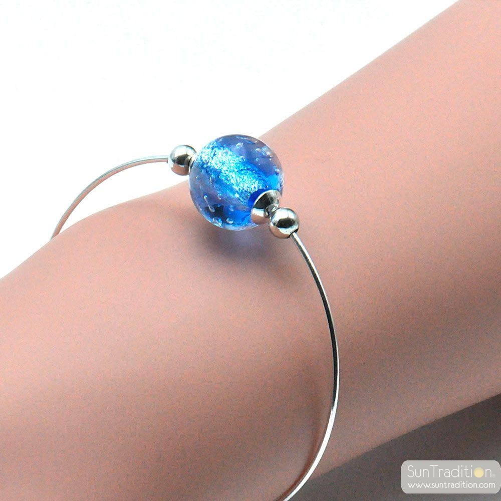 THIN BLUE BRACELET IN GENUINE MURANO GLASS FROM VENICE