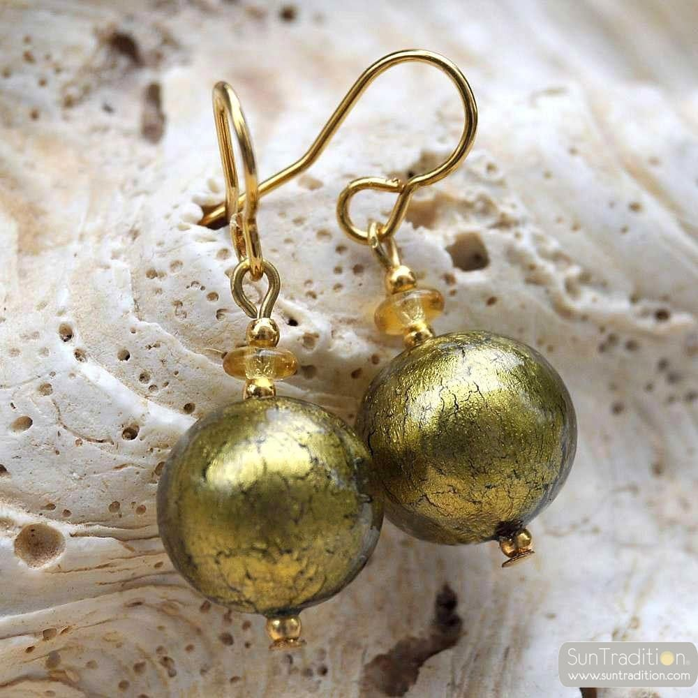 KHAKI GREEN MURANI GLASS EARRINGS GENUINE VENICE MURANO GLASS