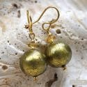 BALL KHAKI GREEN EARRINGS GENUINE VENICE MURANO GLASS