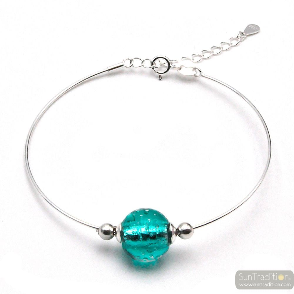 TURQUOISE SILVER BRACELET IN GENUINE MURANO GLASS FROM VENICE