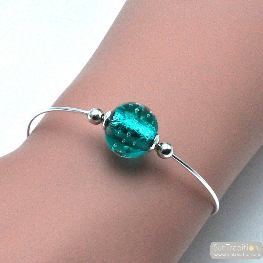 THIN TURQUOISE BRACELET IN GENUINE MURANO GLASS FROM VENICE