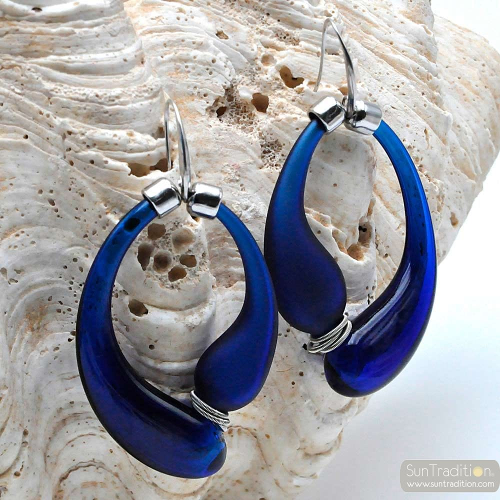 BLACK AND BLUE SATIN CREOLES GENUINE MURANO BLOWN GLASS EARRINGS
