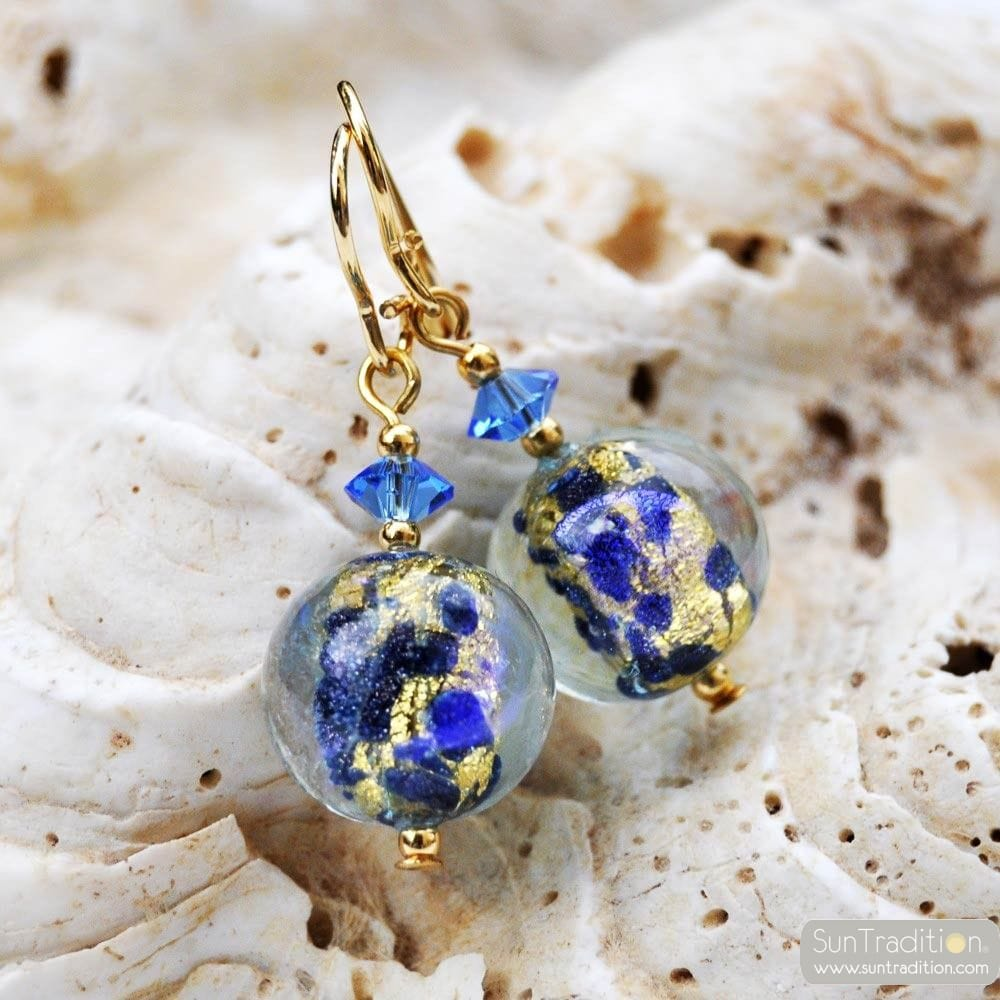 BLUE MURANO GLASS EARRINGS GENUINE VENICE GLASS