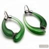 MIO GREEN AND SATIN - GREEN AND SATIN CREOLES EARRINGS REAL BLOWN MURANO GLASS FROM VENICE