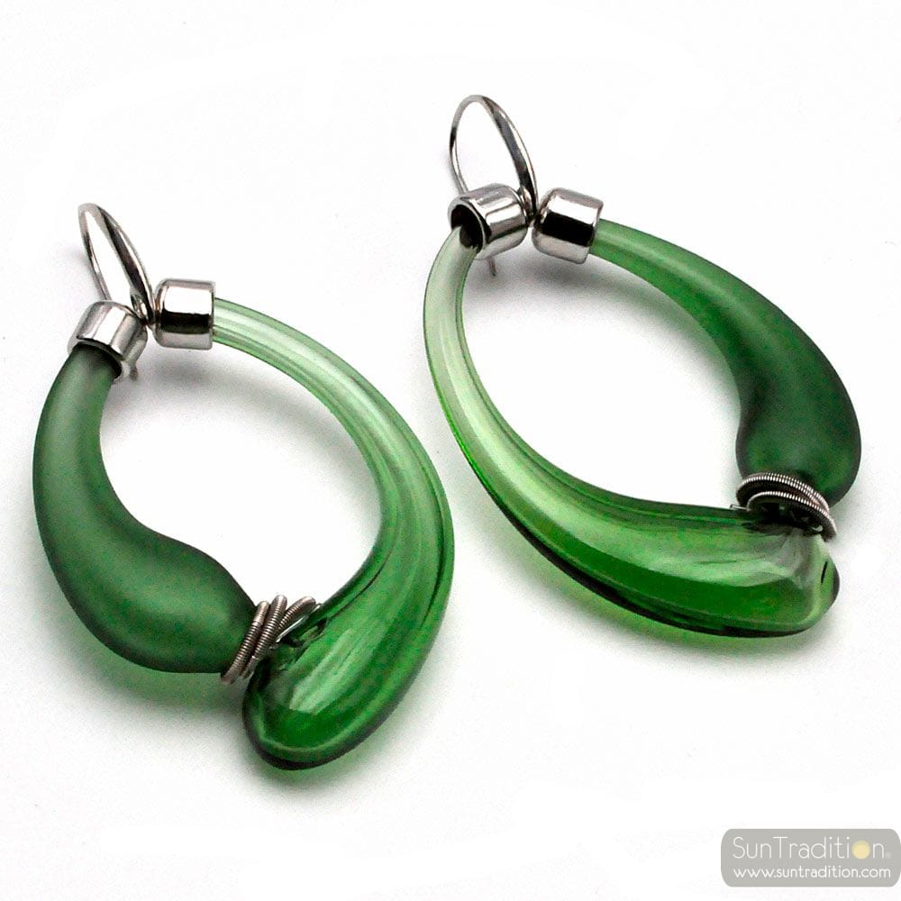 GREEN AND SATIN CREOLES EARRINGS REAL BLOWN MURANO GLASS FROM VENICE