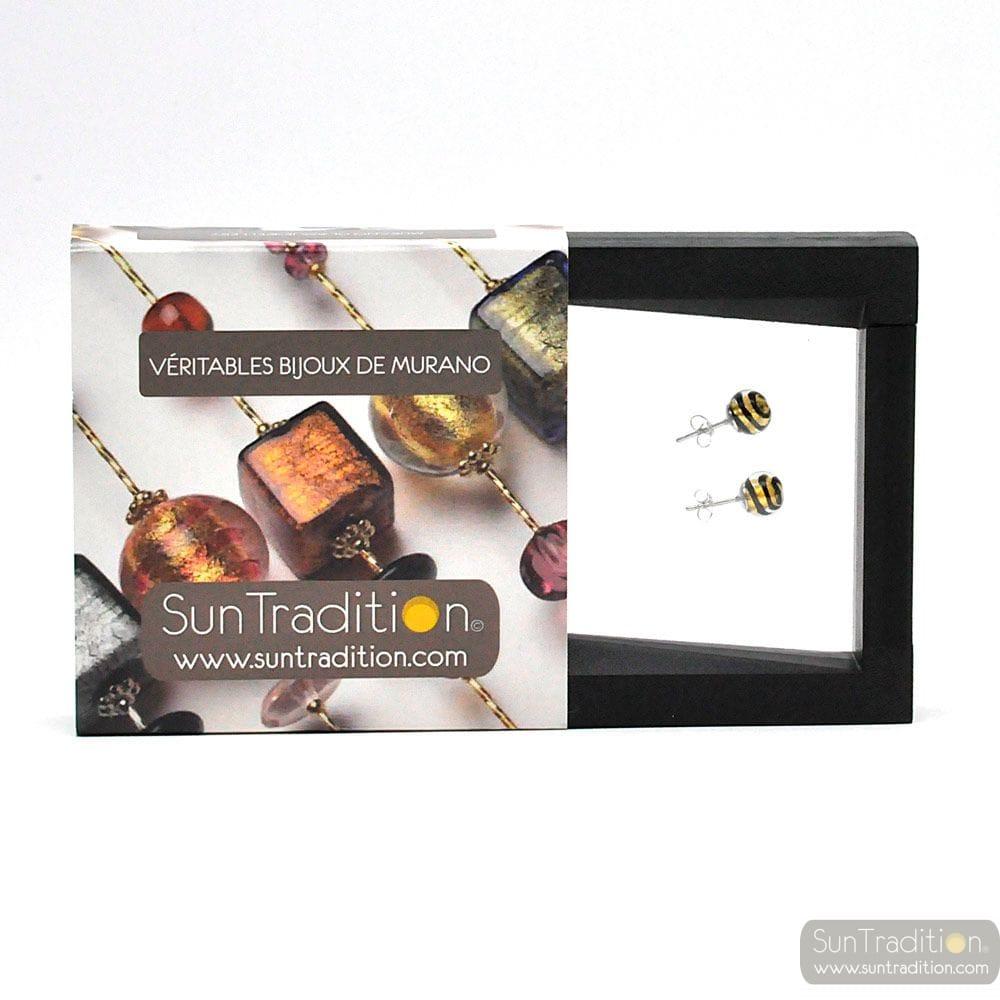 BLACK GOLD TOURBILLON STUD EARRINGS IN REAL VENICE MURANO GLASS