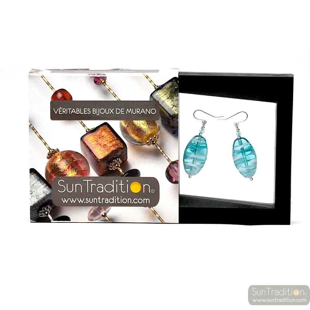 DORY TURQUOISE - TURQUOISE MURANO GLASS EARRINGS GENUINE FROM VENICE