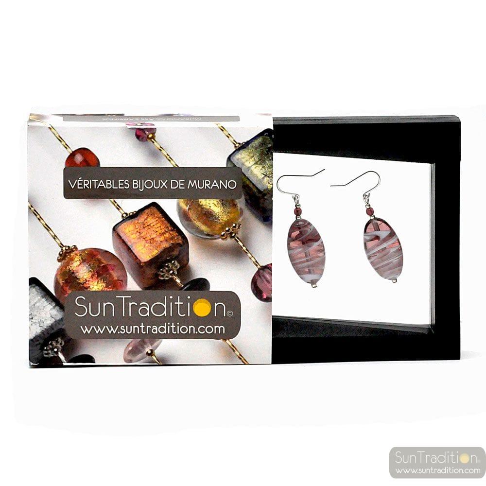 DORY AMETHYSTE - AMETHYST MURANO GLASS EARRINGS REAL FROM VENICE