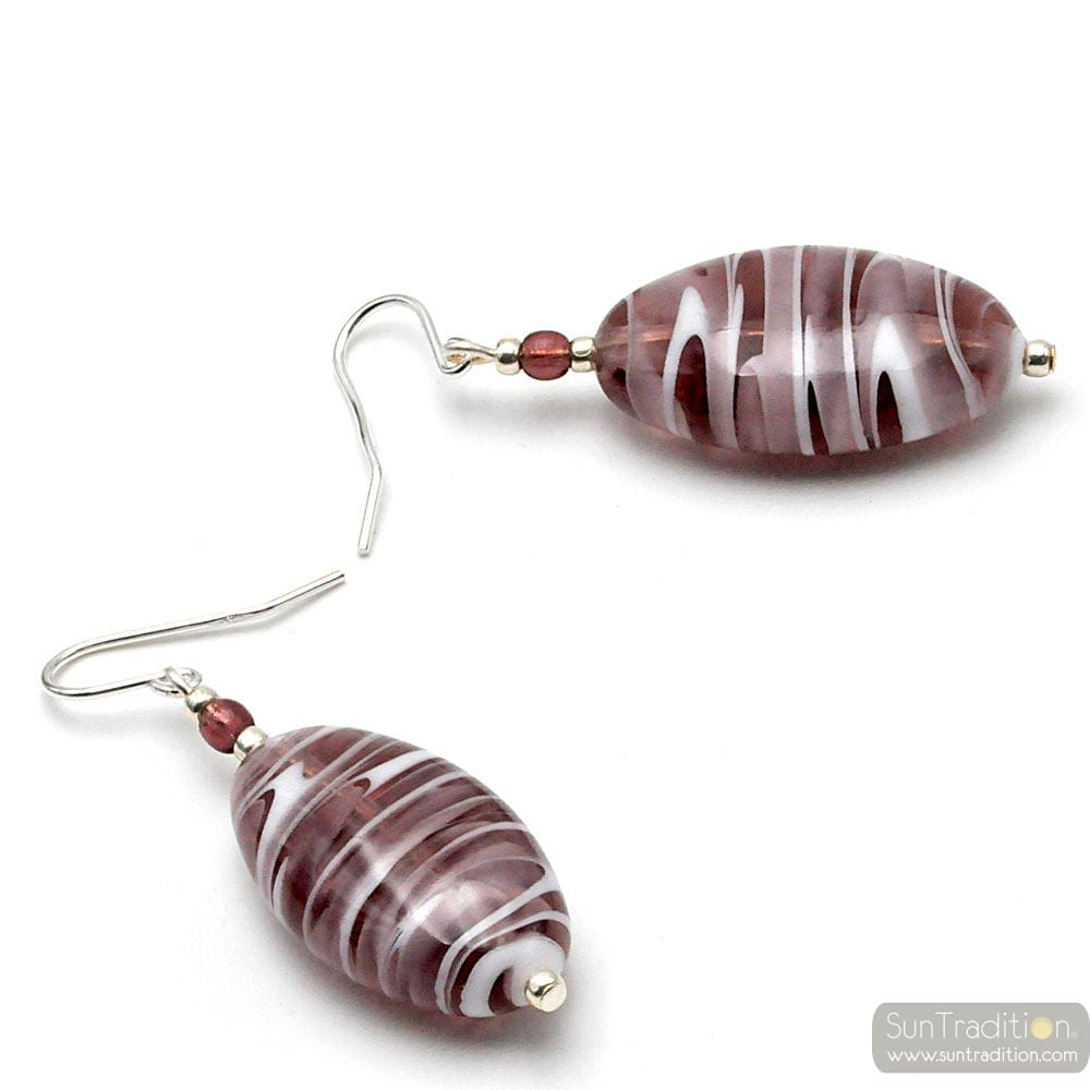 AMETHYST MURANO GLASS SILVER EARRINGS REAL FROM VENICE