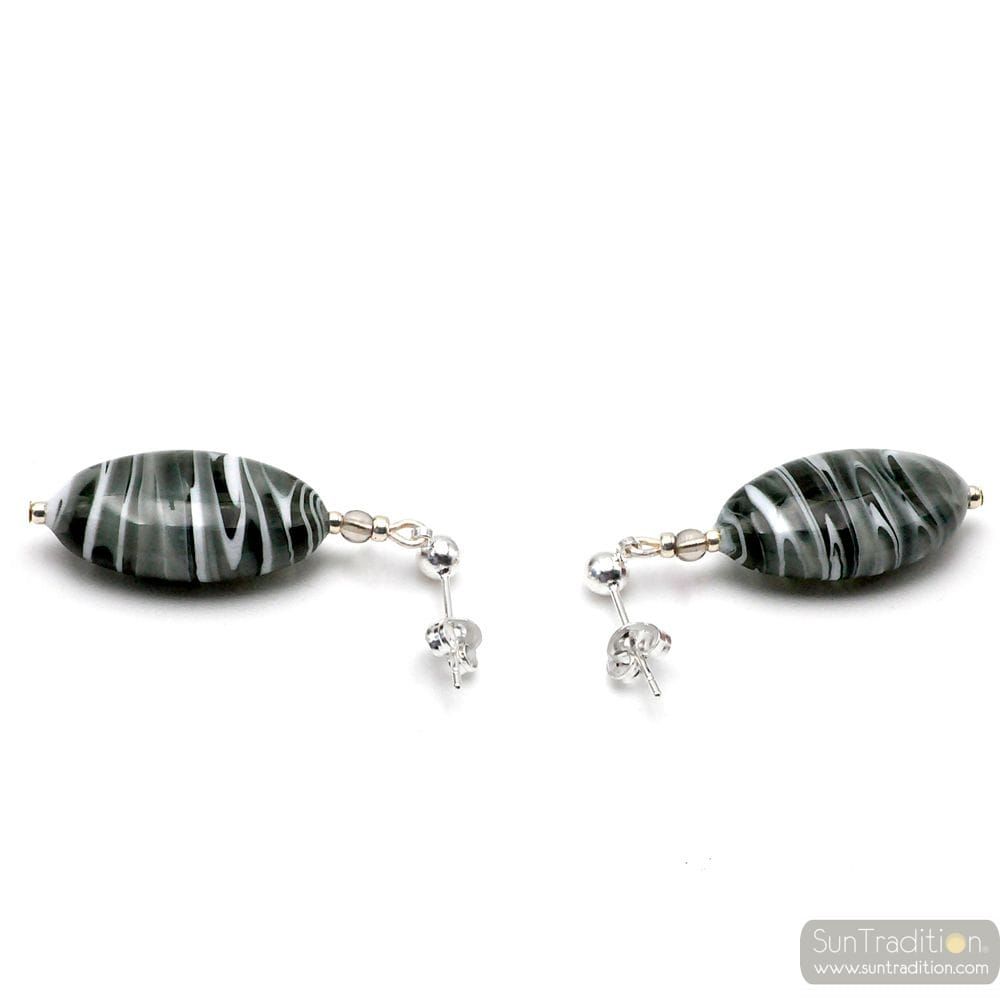 GRAY MURANO GLASS EARRINGS GENUINE FROM VENICE