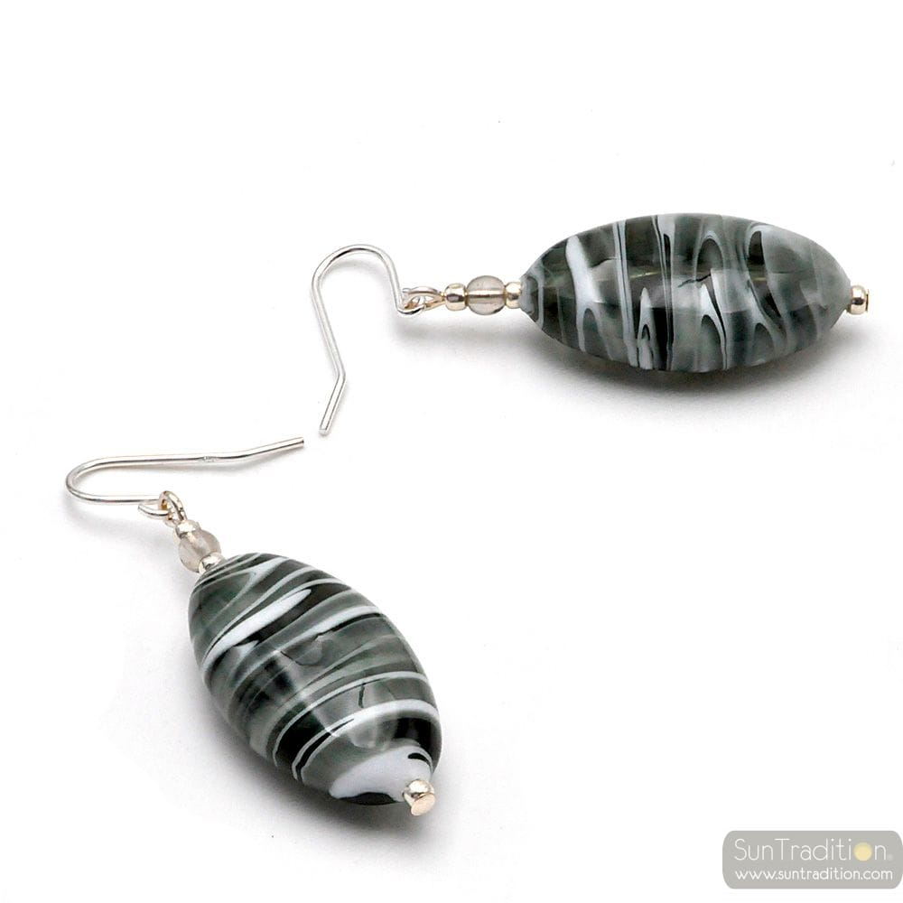 GRAY MURANO GLASS SILVER EARRINGS GENUINE FROM VENICE
