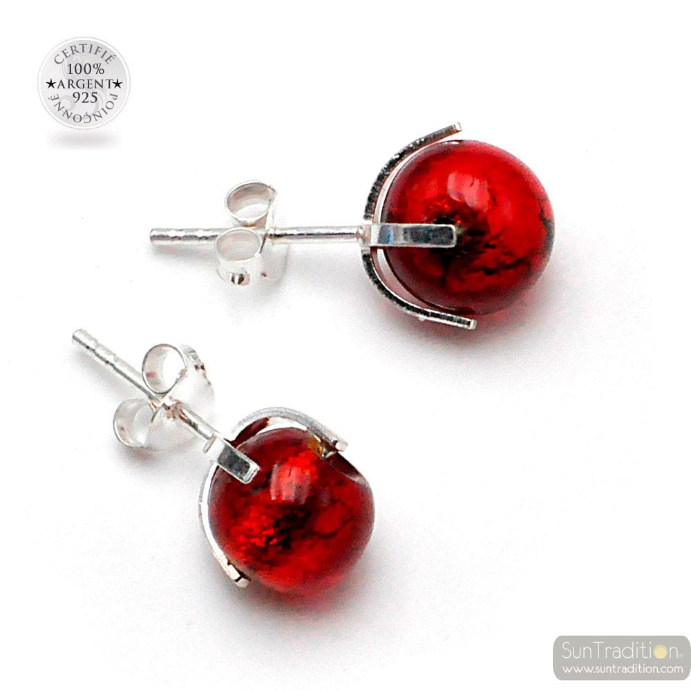 RED MURANO GLASS STUD EARRINGS FROM VENICE