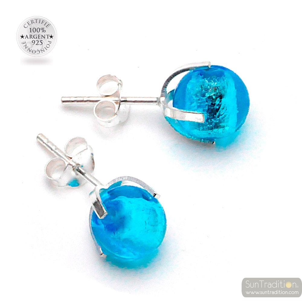 AZUR BLUE NAIL EARRINGS IN GENUINE MURANO GLASS FROM VENICE